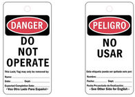 Reusable Durable Lock Out Tag Out Tags , Bilingual Paper Lockout Safety Tags