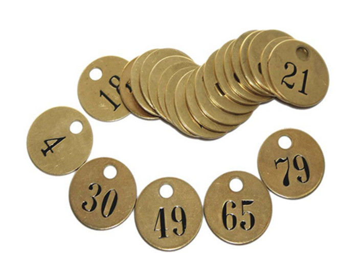 "Pre-Numbered Tag Round Brass Interlocking Stencils 1/2"" Black - Filled Numbers"