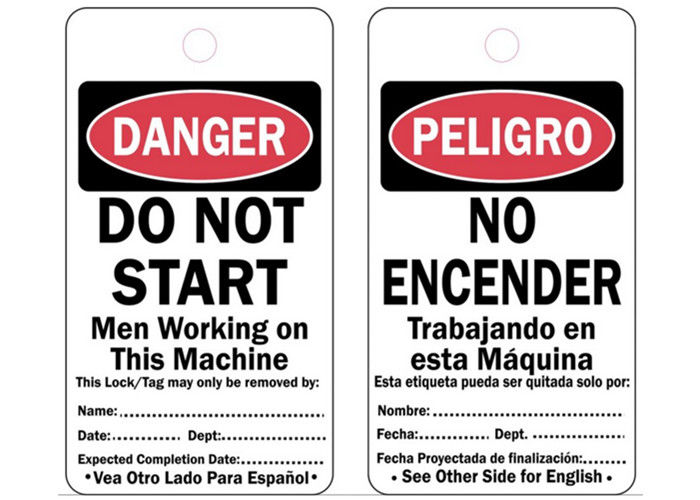 Danger Bilingual Safety Lockout Tags Cardstock System Protect Tag Out