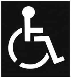 Black PVC Stencil High - Impact Plastic For Wheelchair Handicap Symbol